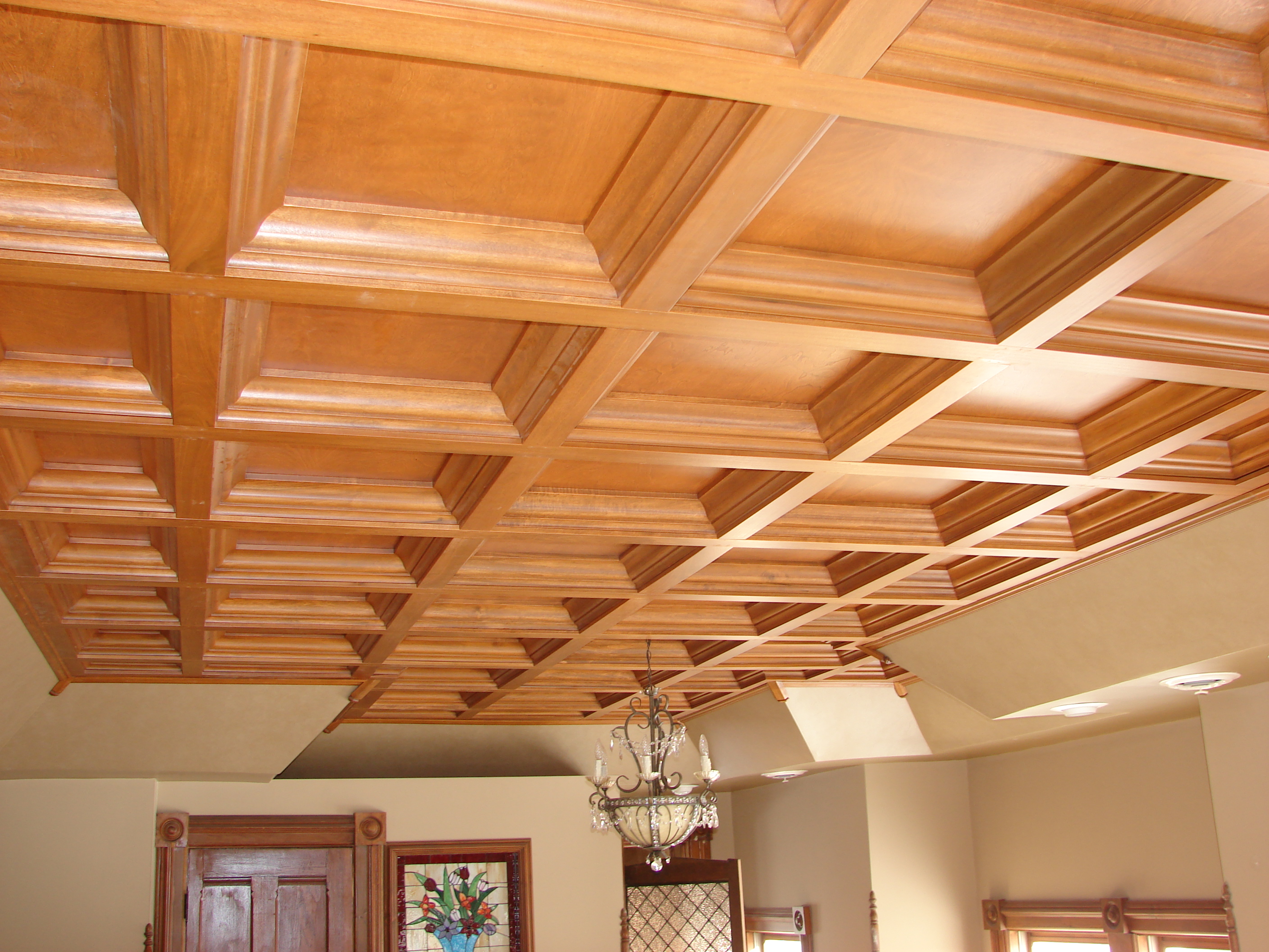 Vaulted ceiling new build home design idea for Coffered ceiling styles