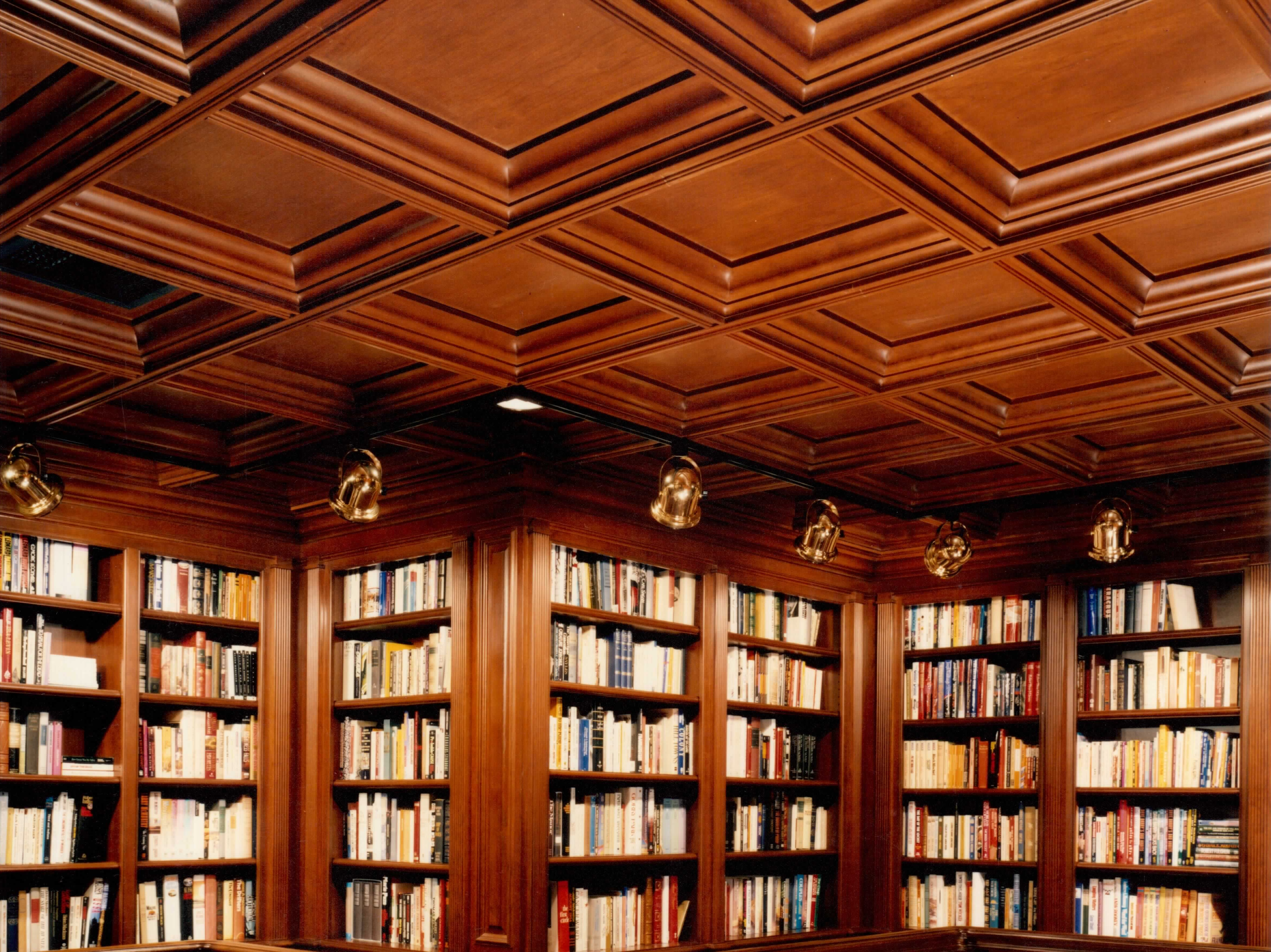 Library Wood Coffered Cherry Ceiling