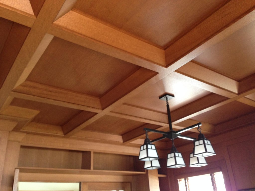 Coffered Ceiling Mission Shaker Frank Lloyd Wright Style