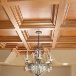 Custom Coffered Ceiling Treatment with Chandelier