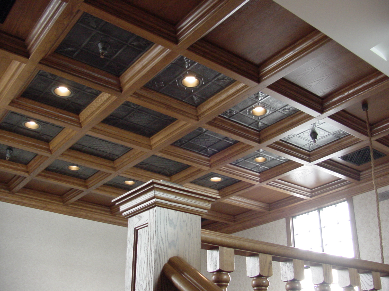 Wood Ceiling in Loft with Tin Panels * WoodGridu00ae Coffered Ceilings by Midwestern Wood Products Co.