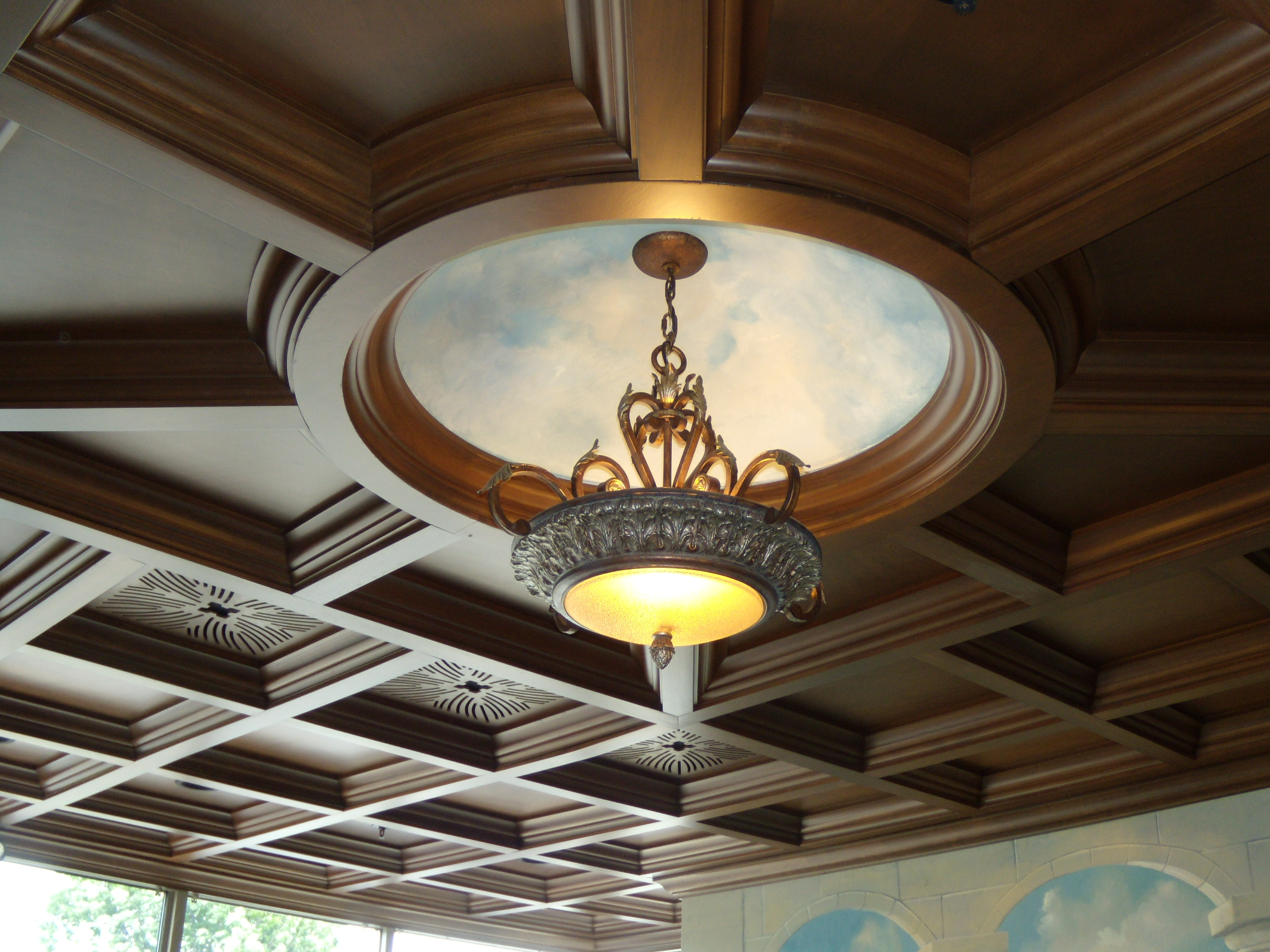 Wood Drop Ceiling With Circle Coffer Woodgrid 174 Coffered
