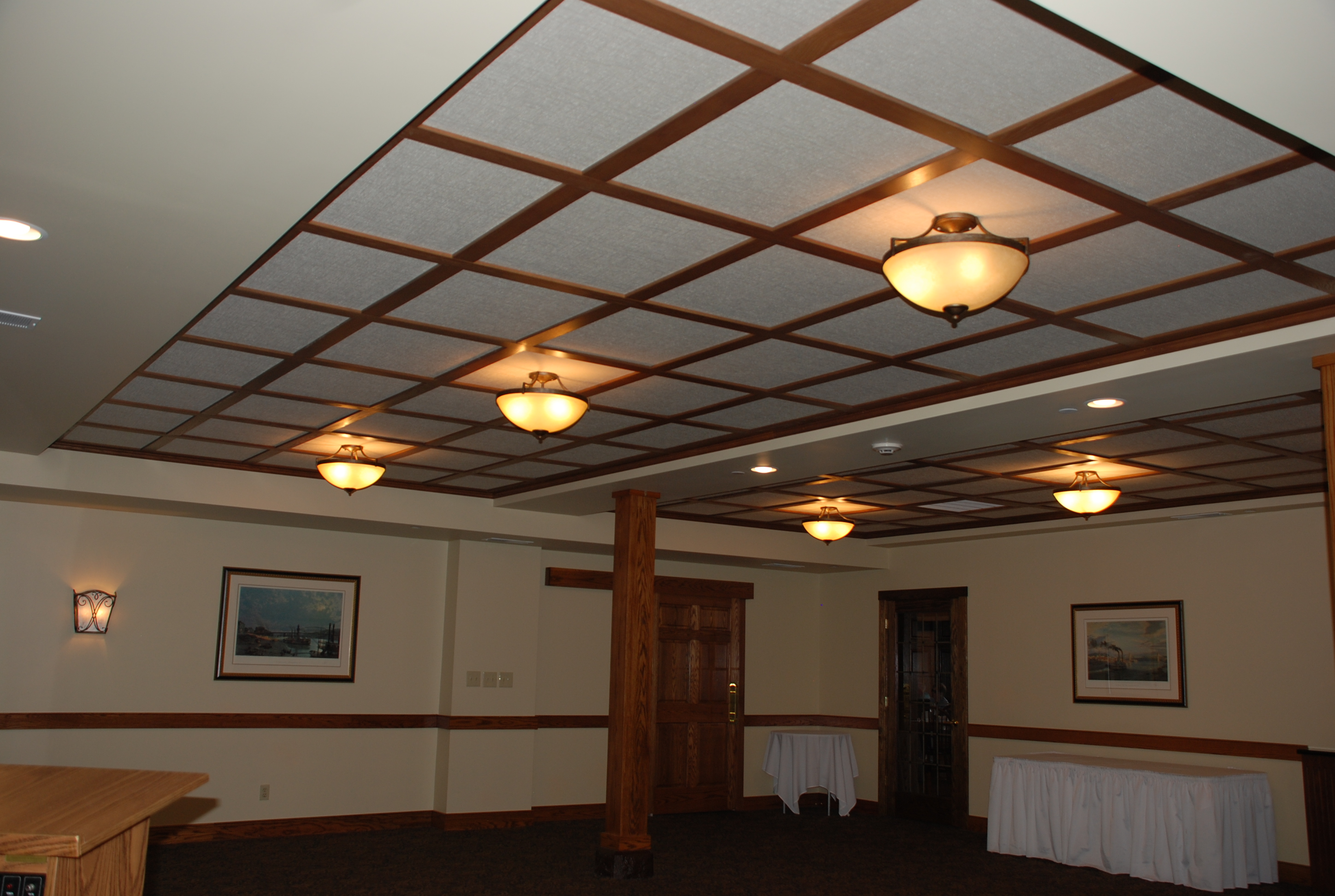 Woodgrid coffered ceilings by midwestern wood products co wood basement ceiling with flat panels wood drop suspended ceiling dailygadgetfo Gallery