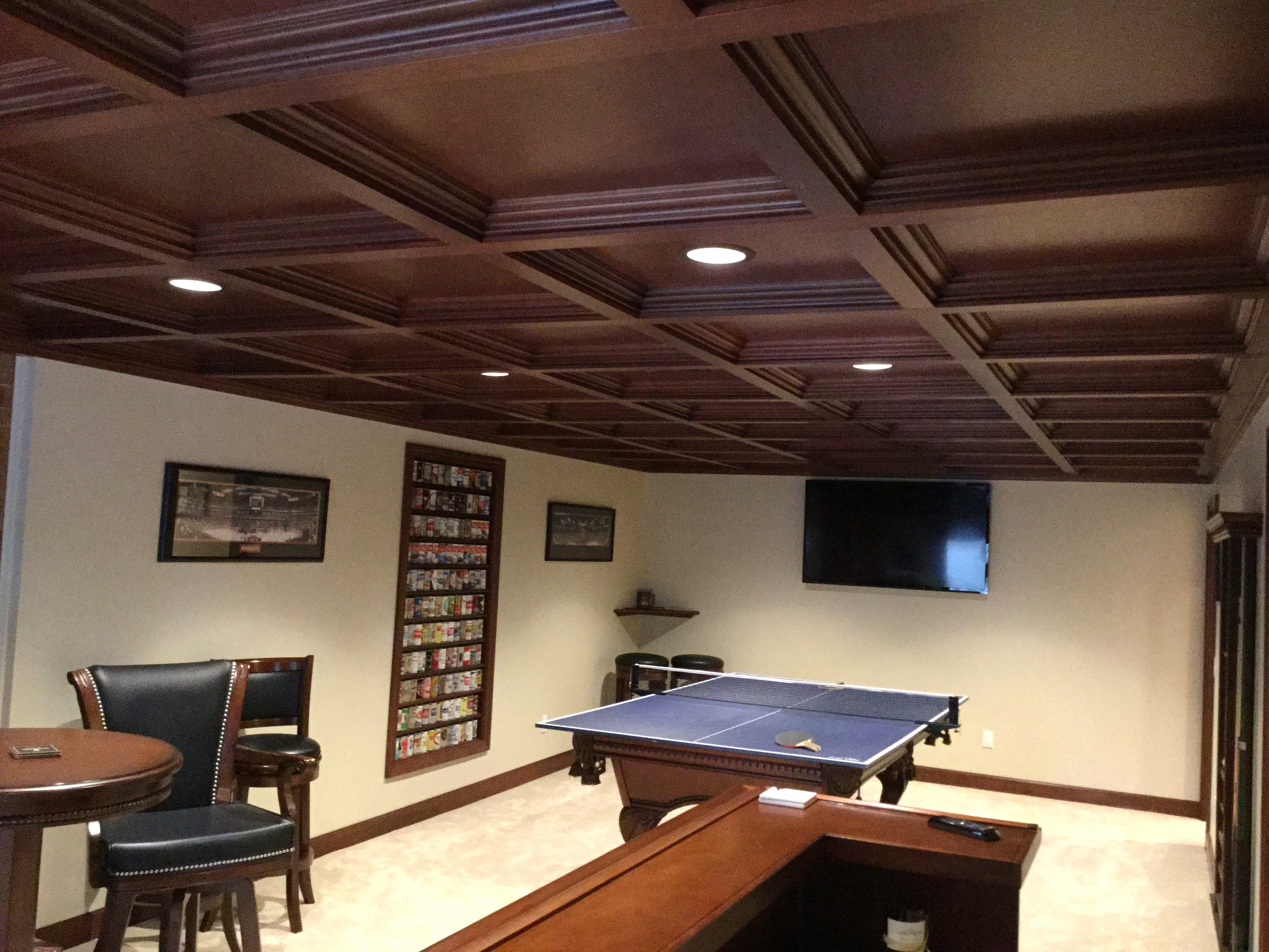 basement bars woodgrid coffered ceilings by midwestern