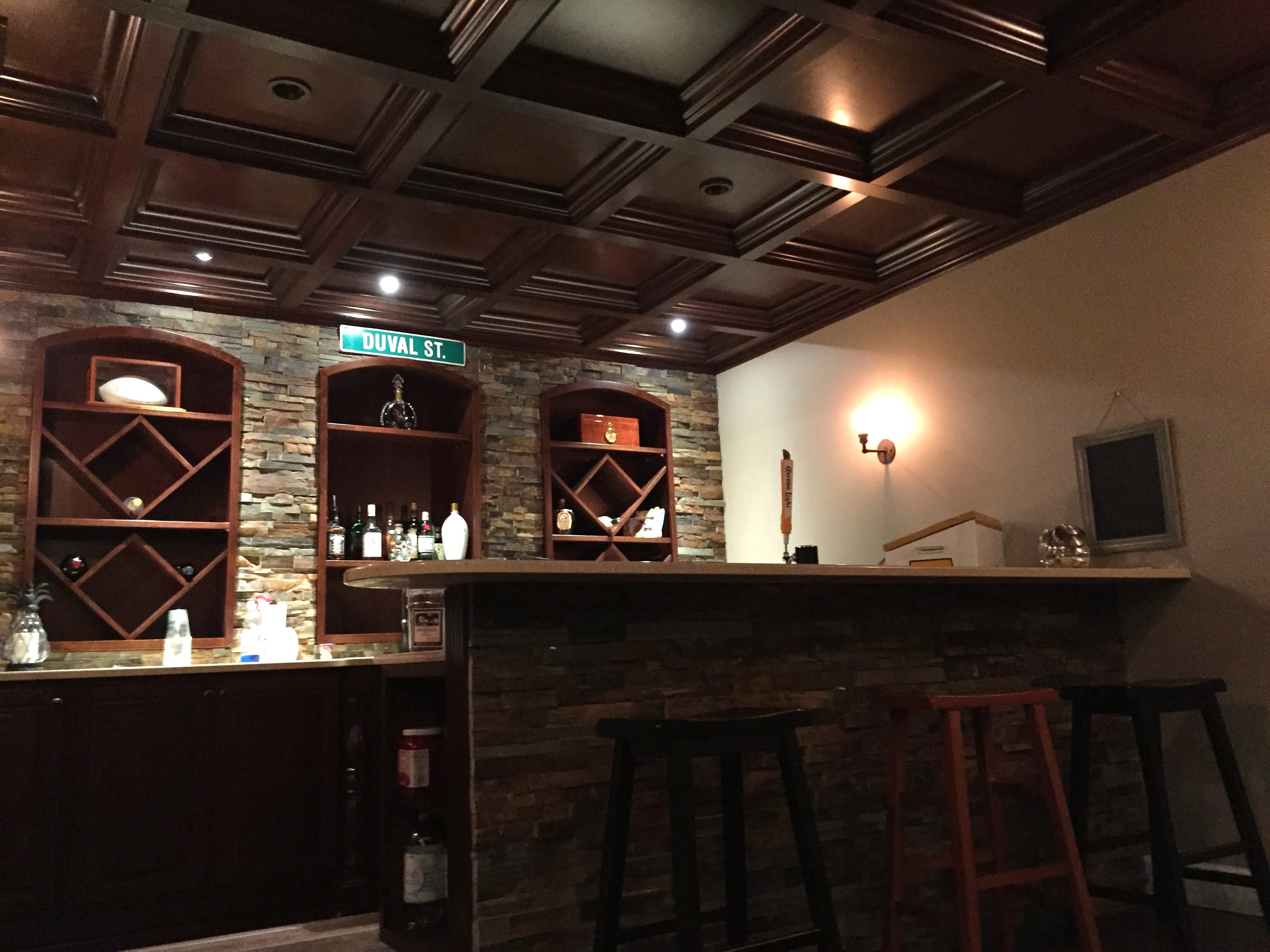 Basement Bar coffered Ceiling